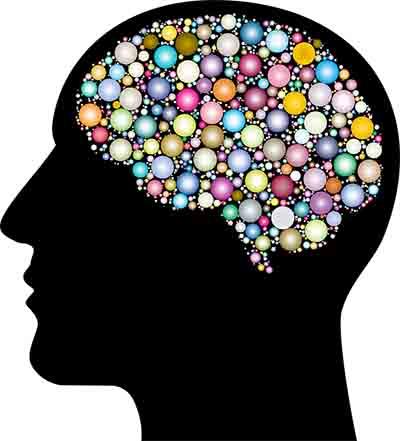 Gehirn Gedanken bunt