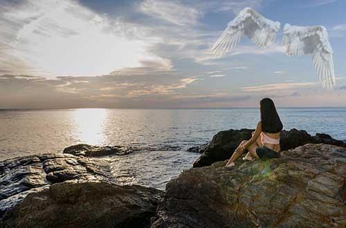 frau mit engel